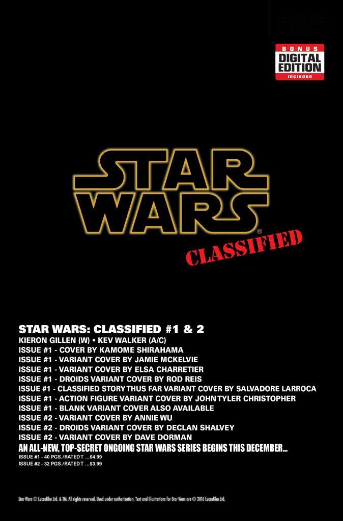 Star Wars December 2016 Solicitations