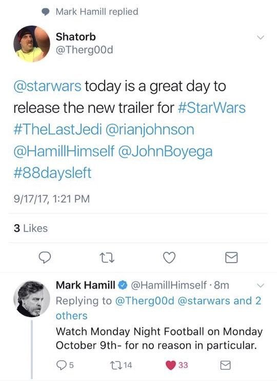 Mark Hamill Twitter Exchange