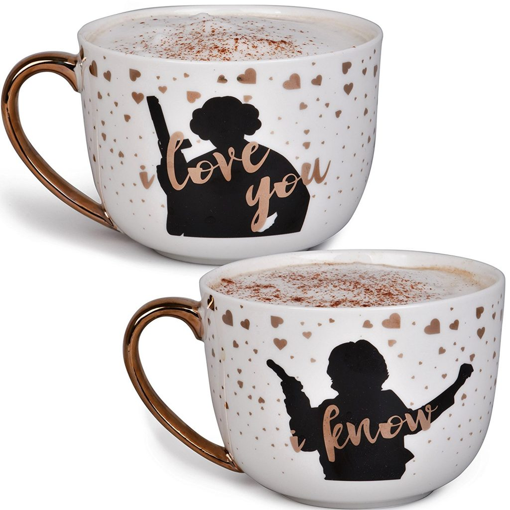 Star Wars Princess Leia and Han Solo Valentines Day Gift Coffee Mug Set - I Love You I Know - Star Wars Pinache - 20 oz