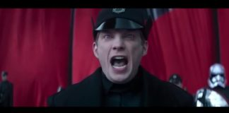 Hux delivering a speech