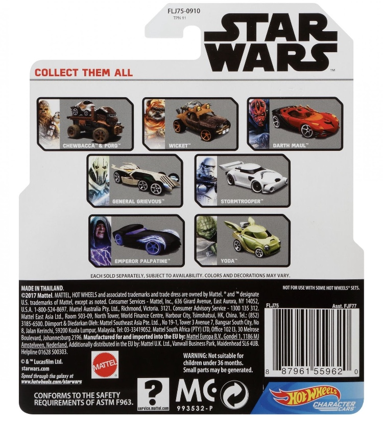 Hot Wheels Star Wars Card Back