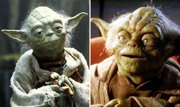 Yoda from The Empire Strikes Back (Left) and The Phantom Menace (Right)
