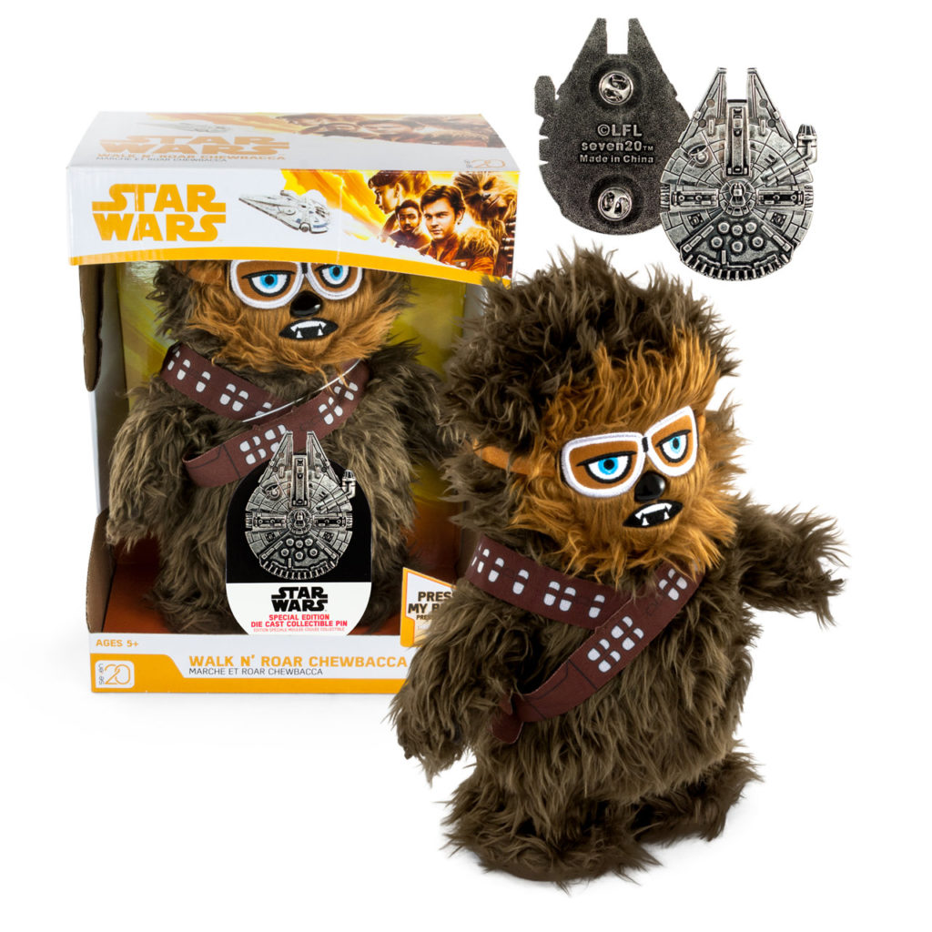 Walk-N-Roar Chewbacca plush with collectible Millennium Falcon pin, $20