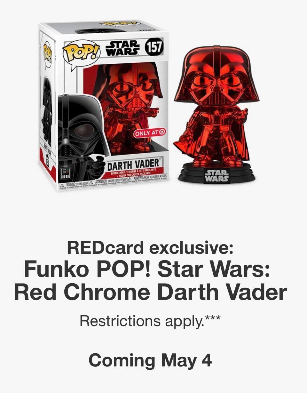 Darth Vader Red Chrome Exclusive Pop Funko Vinyl Star Wars