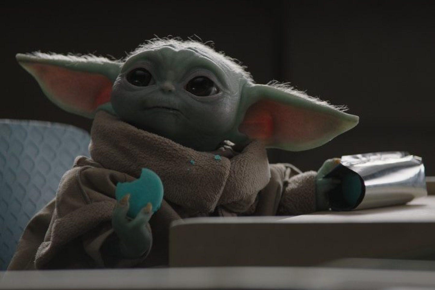 Grogu Eating Star Wars Cookies on Nevarro